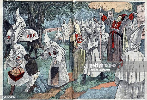 Illustration of Ku Klux Klan members at initiation ceremony