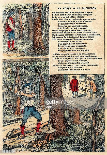 Illustration of La Fontaine's Fables The forest and the woodcutter engraving c 1890
