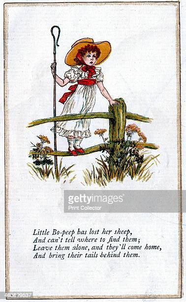 Illustration of 'Little BoPeep has lost her sheep/and doesn't know where to find them' Kate Greenaway For a book of nursery rhymes