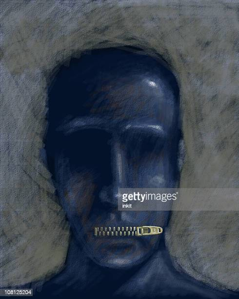 Illustration of Man with Lips Zippered Shut