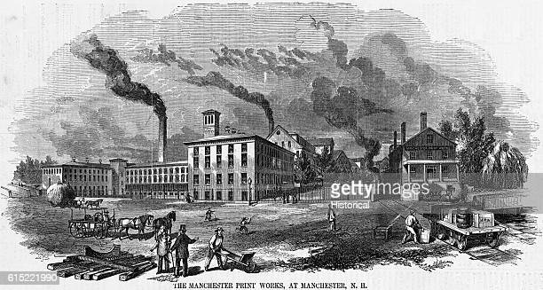 Illustration of Manchester Print Works in Manchester, New Hampshire from Gleason's Pictorial Drawing Room Companion, November 18, 1854.