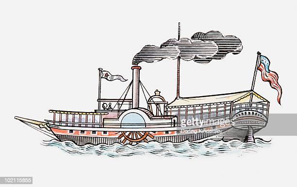 Illustration of Mark Twain's Mississippi paddle boat