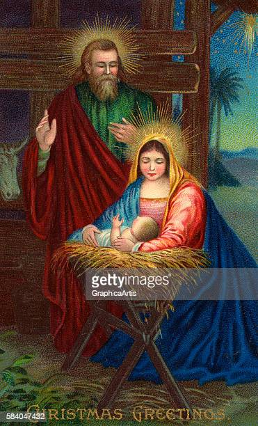 Illustration of Mary and Joseph adoring the Christ child in a manger in Bethlehem 1904 Chromolithograph