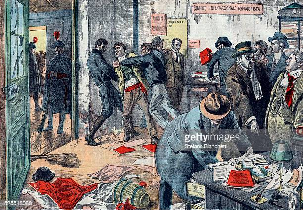 Illustration of mass arrests of Communists and the searching of the offices of the Socialist publication Lavoratore in Trieste Italy in 1923...