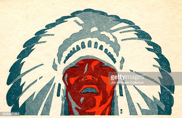 Illustration of Native American man wearing a traditional headdress