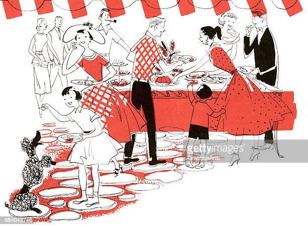 Illustration of neighborhood families at a backyard picnic buffet 1954 Lithograph