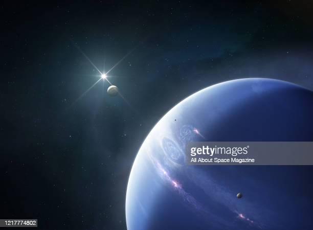 Illustration of Neptune, eighth and farthest known planet from the Sun, created on 27 August, 2019. Also visible are several of Neptunes moons, as...