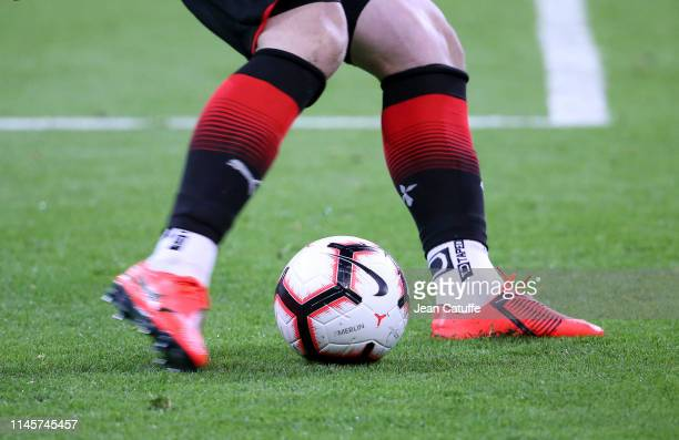 Illustration of Nike match ball 'Merlin' with goalkeeper of Stade Rennais Tomas Koubek during the French Cup Final between Stade Rennais and Paris...