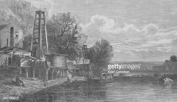 Illustration of oil wells in Pennsylvania circa 1880