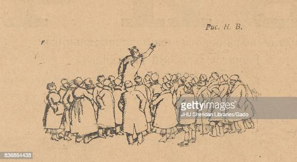 Illustration of one man with a raised first speaking to a crowd of people who have gathered around him from the Russian satirical journal Bich 1917
