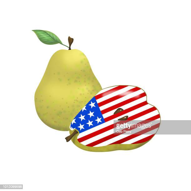 Illustration of patriotic Bartlett Pears