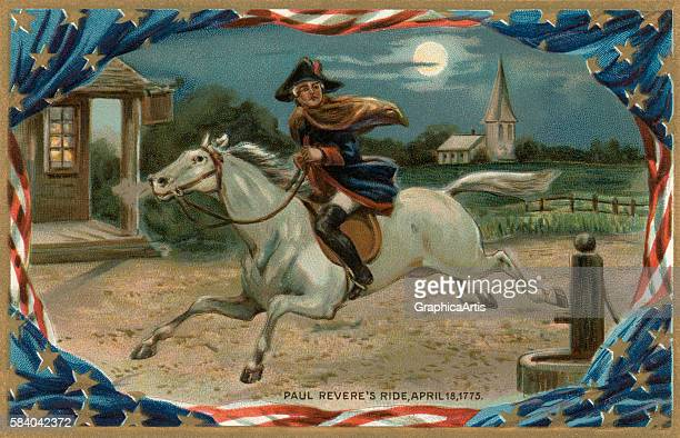 Illustration of Paul Revere on horseback warning of the impending British invasion on April 18 known as 'Paul Revere's Ride' or 'The Midnight Ride of...