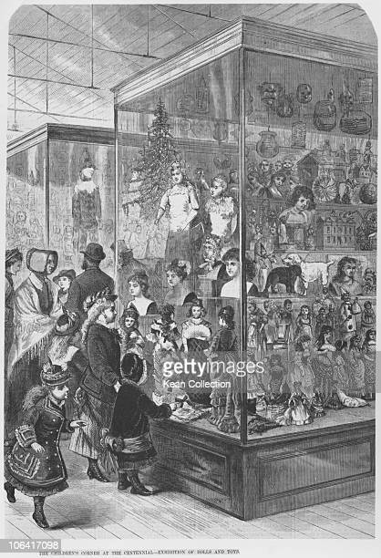 Illustration of people at the the Children's Corner at the Centennial Exhibition of Dolls and Toys held in Philadelphia in 1876