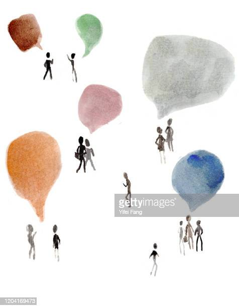 illustration of people talking in group - men's field event stock pictures, royalty-free photos & images