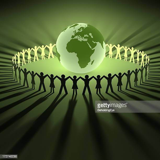 Illustration of people with joined hands around a globe