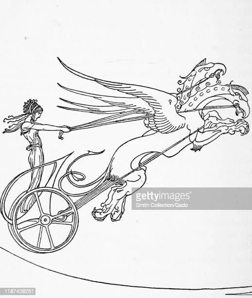 Illustration of person driving a flying chariot from ancient Greek myth 1921 Courtesy Internet Archive