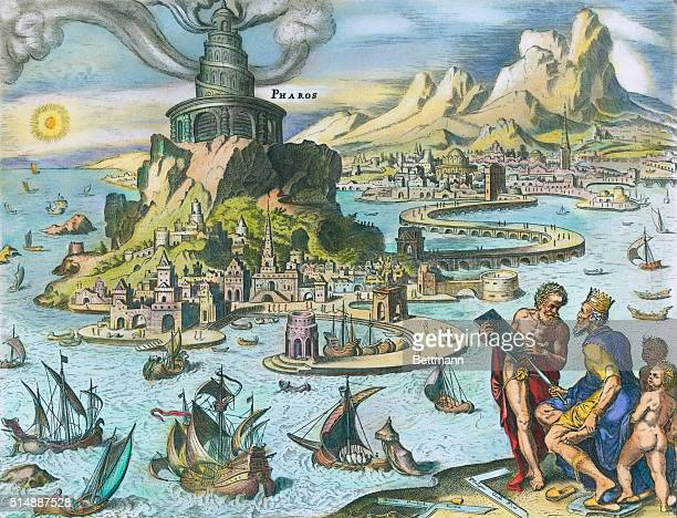 Illustration of Pharos of Alexandria one of the Seven Wonders of the Ancient World
