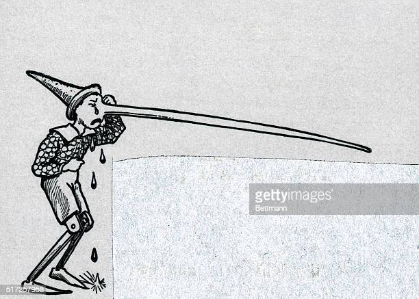 Illustration of Pinocchio crying as his nose grows from telling too many lies Undated engraving BPA2# 3356