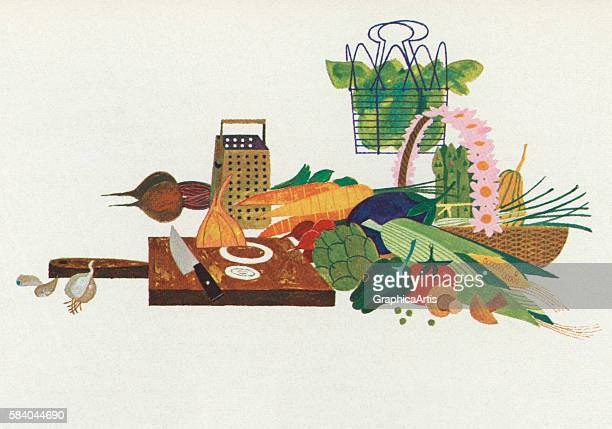 Illustration of preparing vegetables on a cutting board 1957 Screen print
