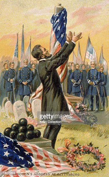 Illustration of president Abraham Lincoln gesturing as he delivers the Gettysburg Address Pennsylvania November 19 1863