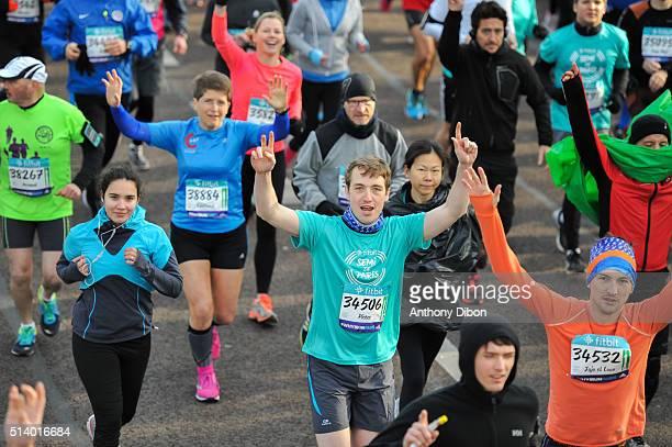 Illustration of racers during Half Marathon on March 6 2016 in Paris France