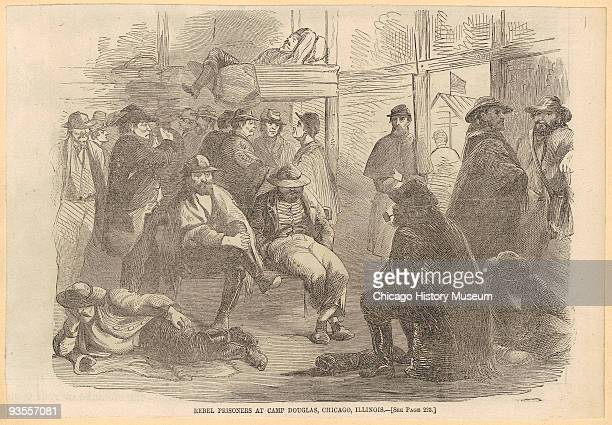 Illustration of rebel prisoners gathered together at Camp Douglas the Union prisoner of war camp located in Chicago 1864 The camp was located on 31st...