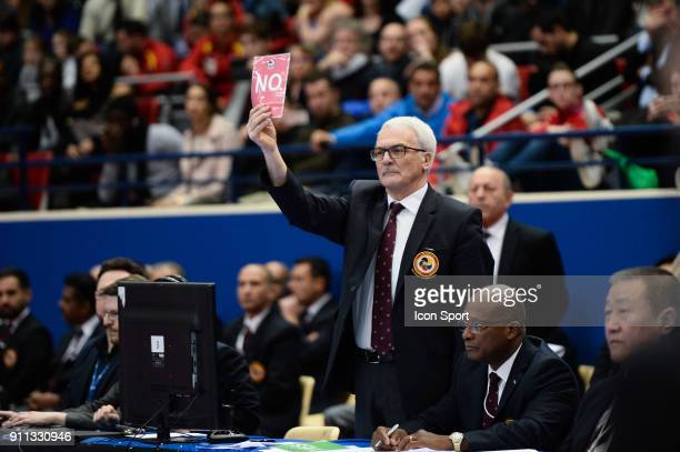 Illustration of referee competes during Open Paris Karate 2018 Day 3 at Stade Pierre de Coubertin on January 28 2018 in Paris France