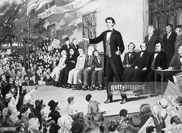 Illustration of Republican presidential candidate Abraham Lincoln speaking on stage during a debate with Steven Douglas and other opponents Knox...