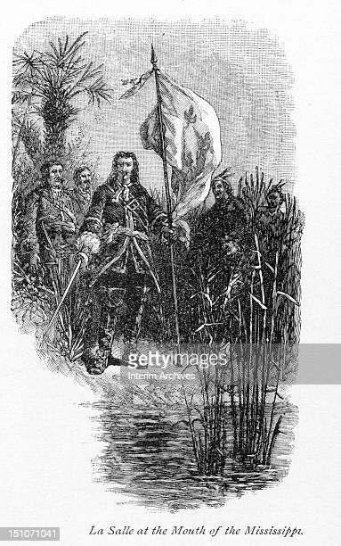 Illustration of Robert Cavelier Sieur de la Salle as the French explorer stands at the mouth of the Mississippi River seventeenth century Published...