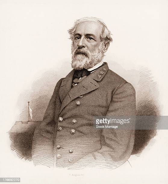 Illustration of Robert E Lee American soldier who was a Confederate general during the American Civil War mid 19th century
