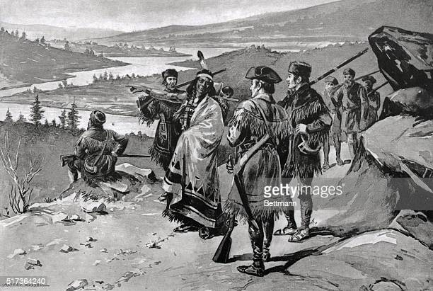 1904 Illustration of Sacajawea guiding the Lewis and Clark expedition through the Rocky Mountains Painting by Alfred Russell BPA2