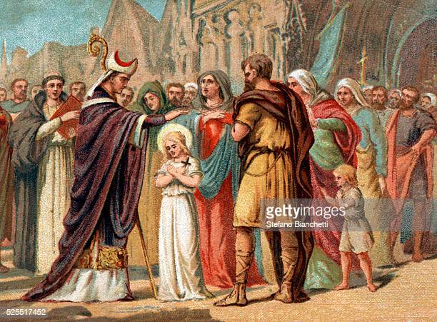 Illustration of Saint Germain of Auxerre foretelling the future sanctity of Saint Genevieve while visiting her village of Nanterre