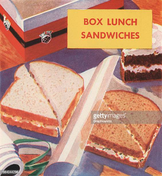 Illustration of sandwiches being prepared for a box lunch 1931 Screen print