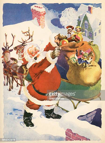 Illustration of Santa Claus getting bags of toys out of his sleigh on the rooftop of a house on Christmas Eve 1935 Lithograph