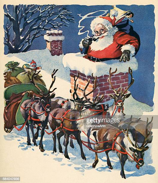 Illustration of Santa Claus going down a chimney with his sack of toys on Christmas Eve 1935 Lithograph