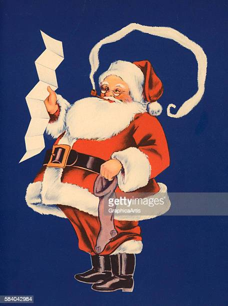 Illustration of Santa Claus holding his list of girls and boys who've been naughty and nice 1941 Lithograph