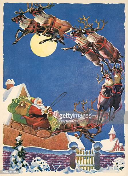 Illustration of Santa's sleigh and reindeer flying in the night sky on Christmas Eve 1935 Lithograph