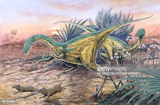 Illustration of Saurornithoides chasing rodents