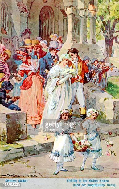 Illustration of Schiller 's 'The Song of the Bell' Wedding scene outside church Painting by Hans Kaufmann München Friedrich Schiller German poet 10...