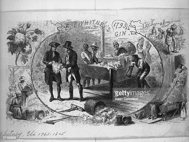 Illustration of slaves working on Eli Whitney's cotton gin circa 1793