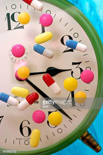 Illustration Of Sleeping Pills Or Chronopharmacology