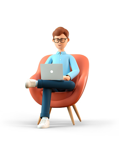 3D illustration of smiling happy man with laptop sitting in armchair. Cartoon businessman working in office and using social networks, isolated on white background. 1226886130