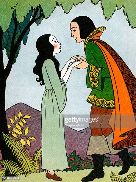Illustration of Snow White after she is revived by the Prince's love from Snow White and the Seven Dwarfs 1937 Lithograph