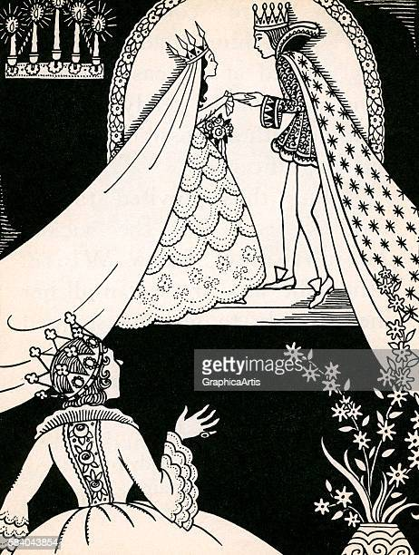 Illustration of Snow White marrying the prince at his castle while the evil queen discovers Snow White is still 'fairest of them all' from Snow White...