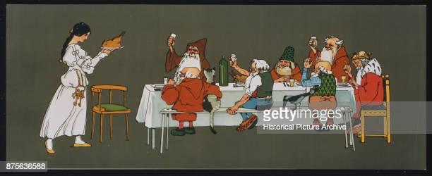 Illustration of Snow White Serving Dinner to the Seven Dwarves