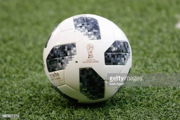 Illustration of soccer ball for the Russia World Cup during the International Friendly match between Morocco and Slovakia at Geneva on June 4 2018 in...