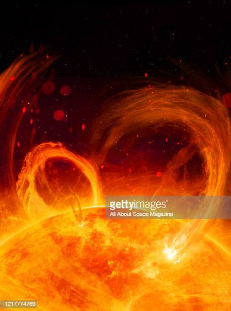 Illustration of solar flares on the surface of the Sun, created on November 14, 2018.