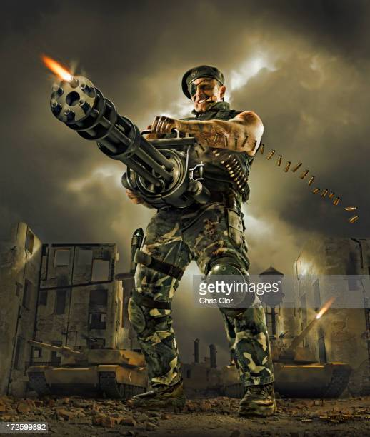 Illustration of soldier firing machine gun outdoors