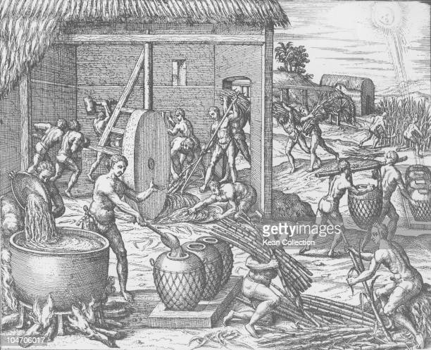 Illustration of sugar manufacturing and refining from De Bry's voyages in the 16th century