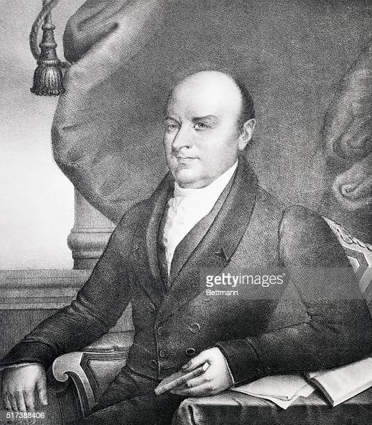 Illustration of the 6th President of the United States John Quincy Adams seated Undated lithograph